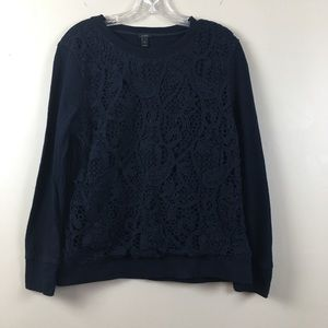 J. Crew | Solid Navy Laced Long Sleeve Top | M
